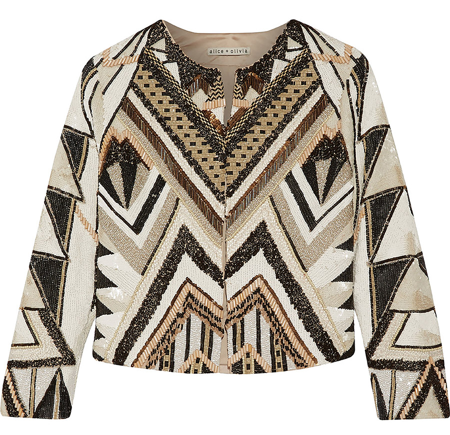 Alice + Olivia Beaded Silk Jacket
