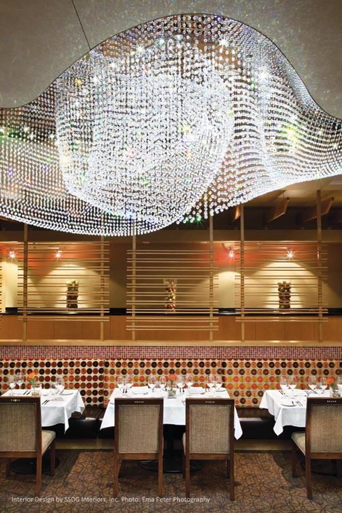 The PeakFine Restaurant's crystal chandelier