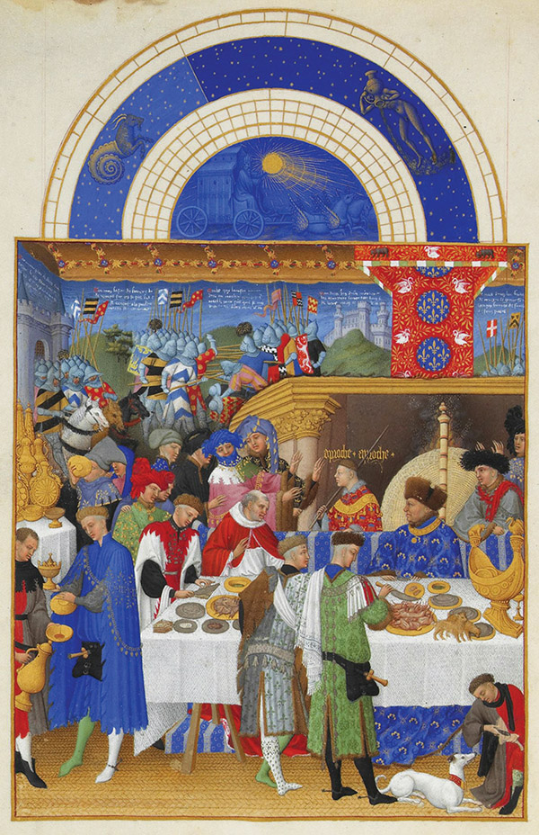 """January: Banquet Scene"" by the Limbourg Brothers, c. 1416."