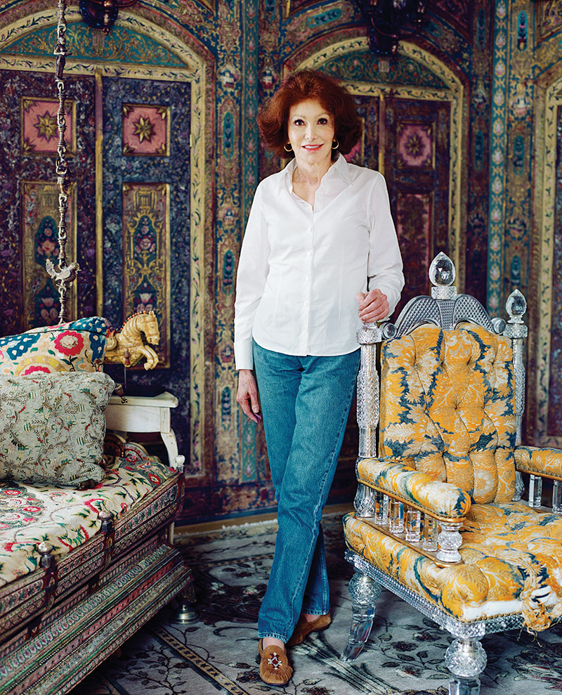 Ann Getty at home in San Francisco. Here in her guest bedroom, the Syro-Turkish panels from the 18th-century are hand painted, gilded and inlaid with semi-precious stones. Chair circa 1894 by F & C Osler.