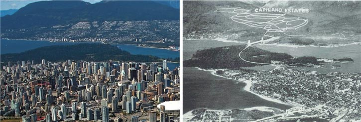 Left: Looking north toward West Vancouver. The British Properties constitute the top half of the homes on the far hillside.  Right: The same view circa 1937.