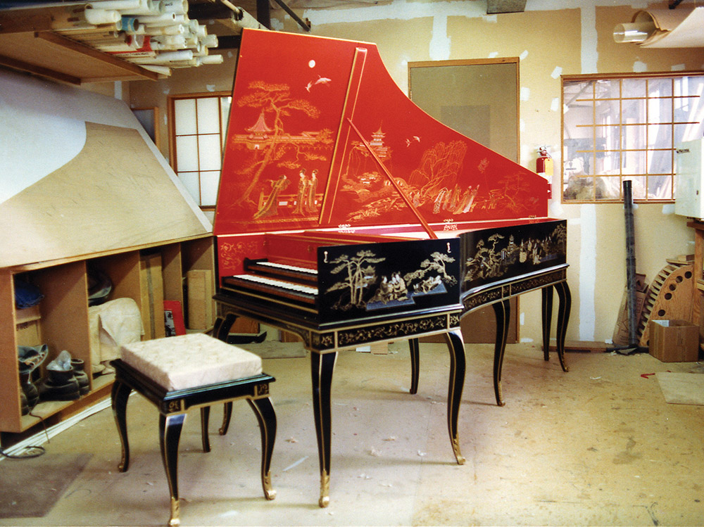 A chinoiserie harpsichord by Craig and Olga Tomlinson, 1988