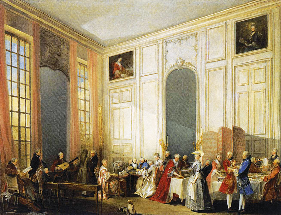 """""""Afternoon Tea at the Temple"""" by Michel-Barthélémy Ollivier captures young Mozart dazzling guests on the harpsichord at an English-style tea in the Four-Mirror Salon of the Palais du Temple in Paris, 1766."""