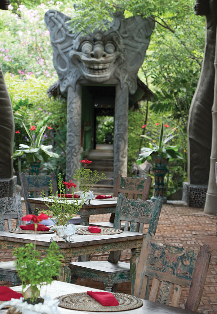At the Hotel Tugu Lombok restaurant, you're never short on lunch companions when the surroundings have this much character.