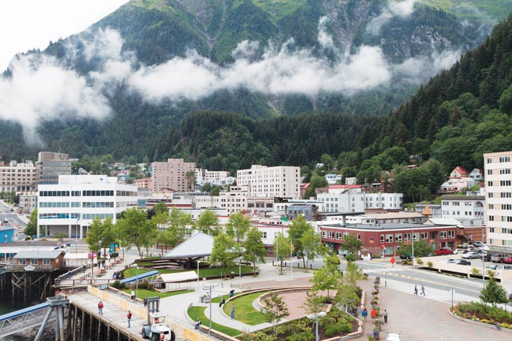 Juneau, Alaska, the only U.S. state capital that cannot be accessed by road.