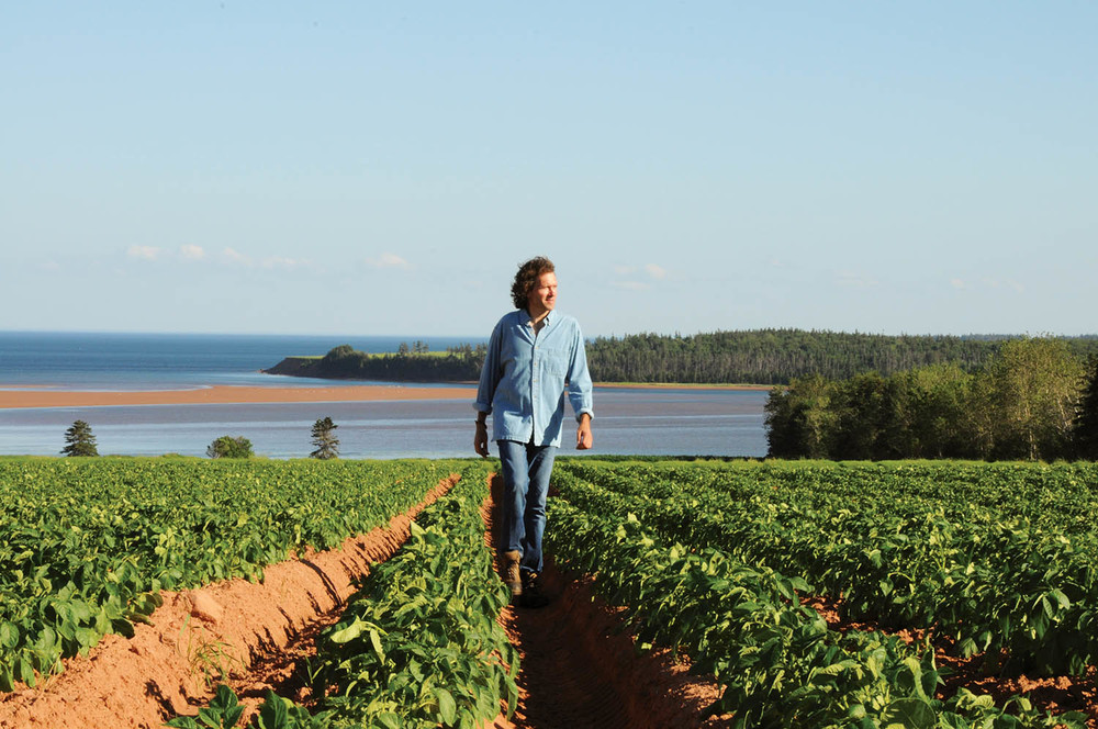 Smith wanders through rows of vegetables at his farm that serves The Inn at Bay Fortune, the restaurant on Prince Edward Island that he and his wife acquired earlier this summer.