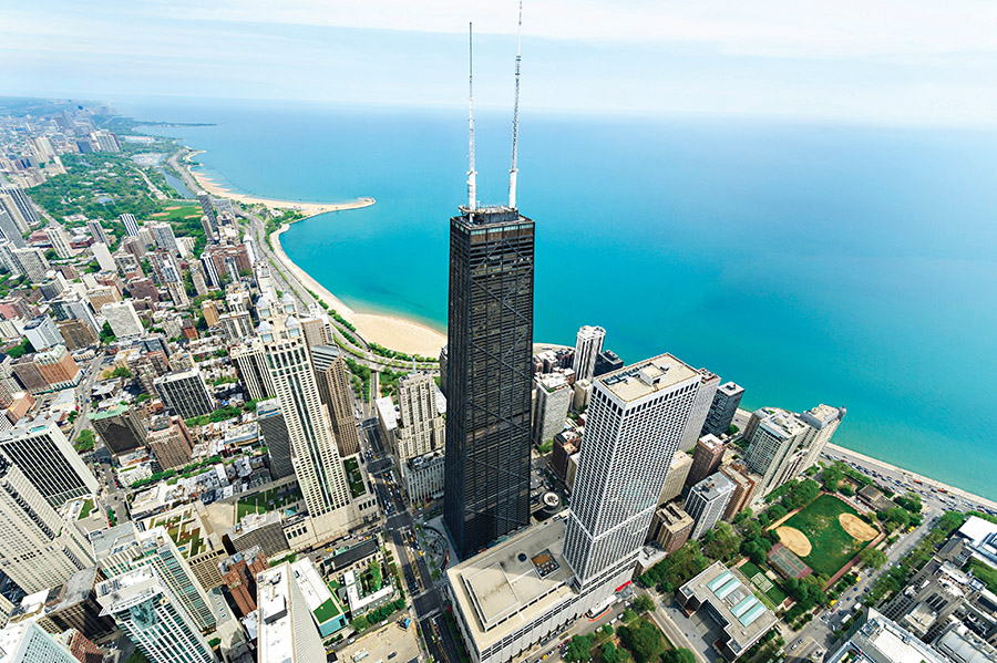 The John Hancock Center makes a striking visual anchor on the Lake Michigan shoreline. (360 CHICAGO, formerly John Hancock Observatory)