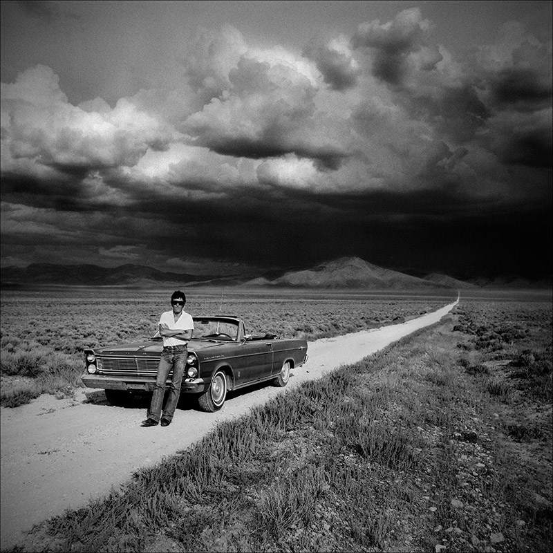 An epic storm looms in the distance of this 1977 image taken on a road trip with Bruce Springsteen. The experience prompted Eric Meola to return to the Nevada desert this year to photograph surreal weather for an art exhibit and photo book titled, Tornado Alley.