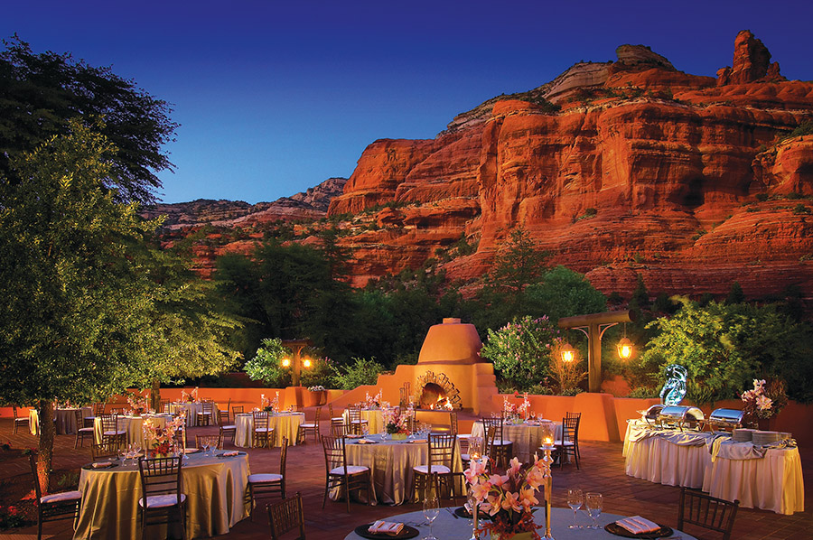 A kiva fireplace adds southwestern charm to the Village Terrace at Enchantment Resort in Boynton Canyon. (Images courtesy of Enchantment Resort)