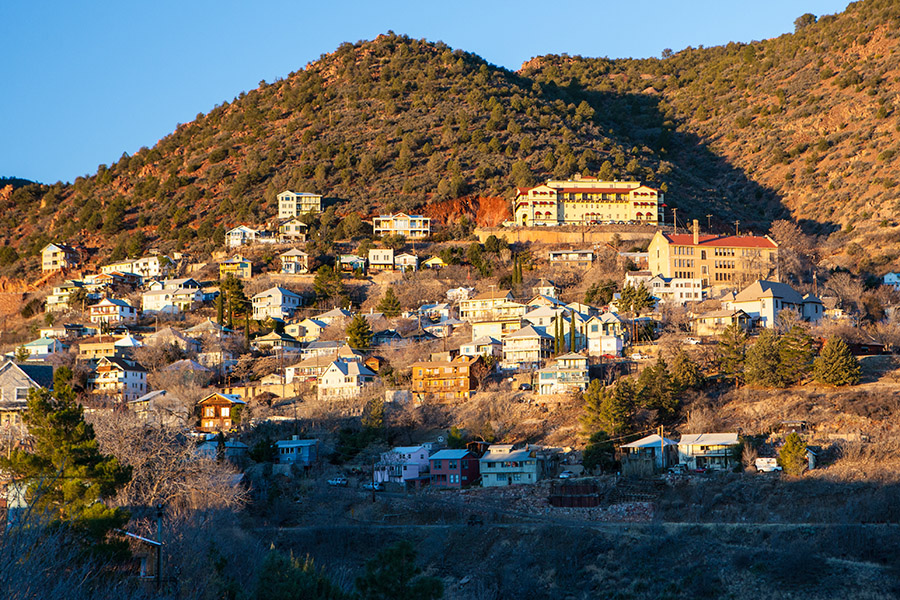 Voted one of the coolest small towns in America, the former mining town of Jerome on Cleopatra Hill was made a National Historic Landmark in 1967. (FiledIMAGE/shutterstock.com )