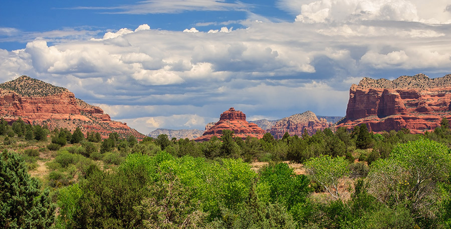 Bell Rock (centre) and Courthouse Butte (right) can both be appreciated by a gentle pathway in Oak Park. (Josemaria Toscano/shutterstock.com  )