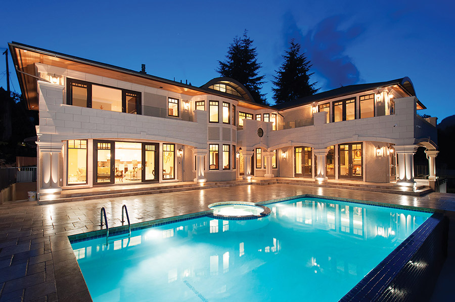 Fetching an unprecedented $8.8 million for a redeveloped West Vancouver property, the home's strategic L-shape design offers modern amenities with Classical architectural antiquity.