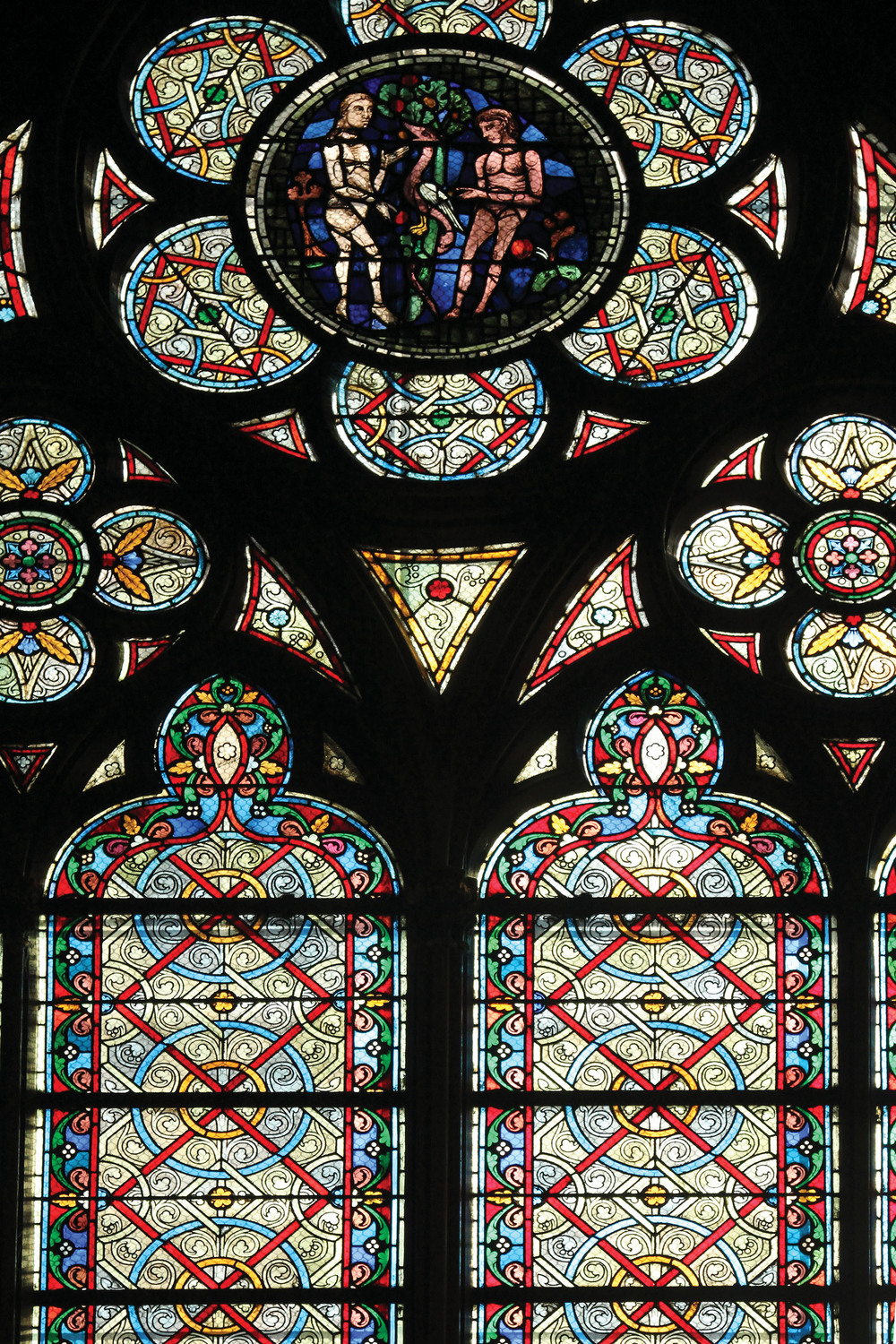 Famous Notre Dame Cathedral stained glass.