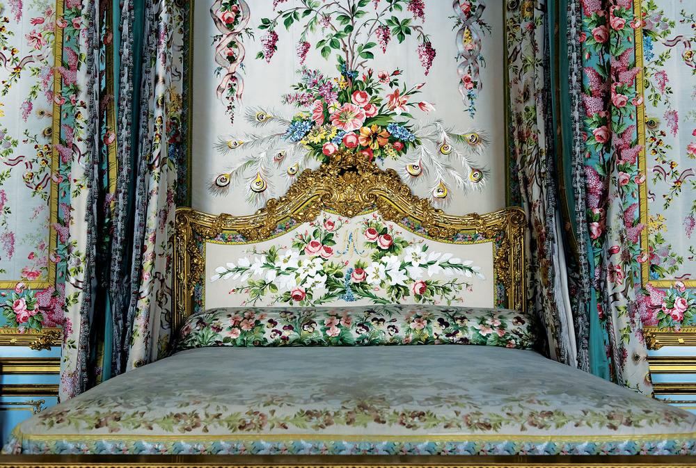 Interior of the royal bedroom at Palace of Versailles.