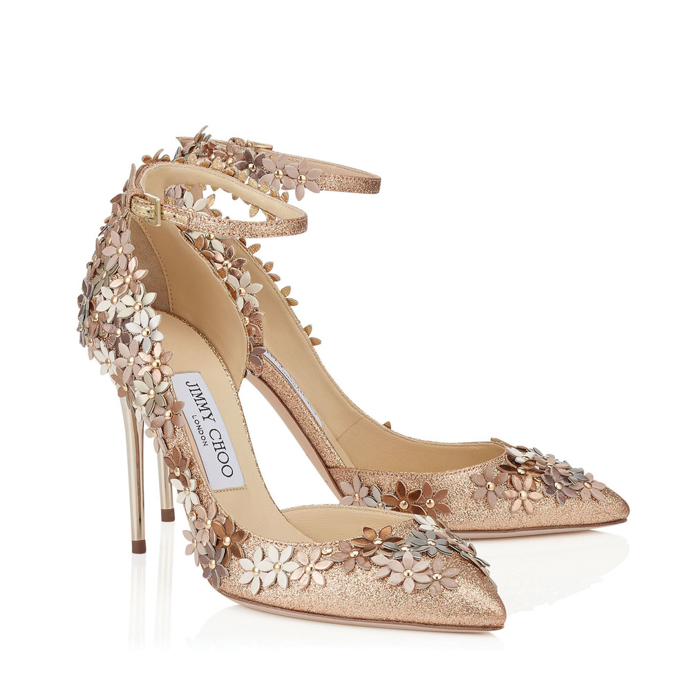 Jimmy Choo Lorelai Nude Fine Glitter Fabric Pumps US$1,495