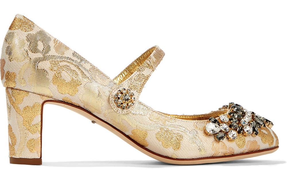 Dolce & Gabbana Embellished Brocade Mary Jane Pumps US$1,743