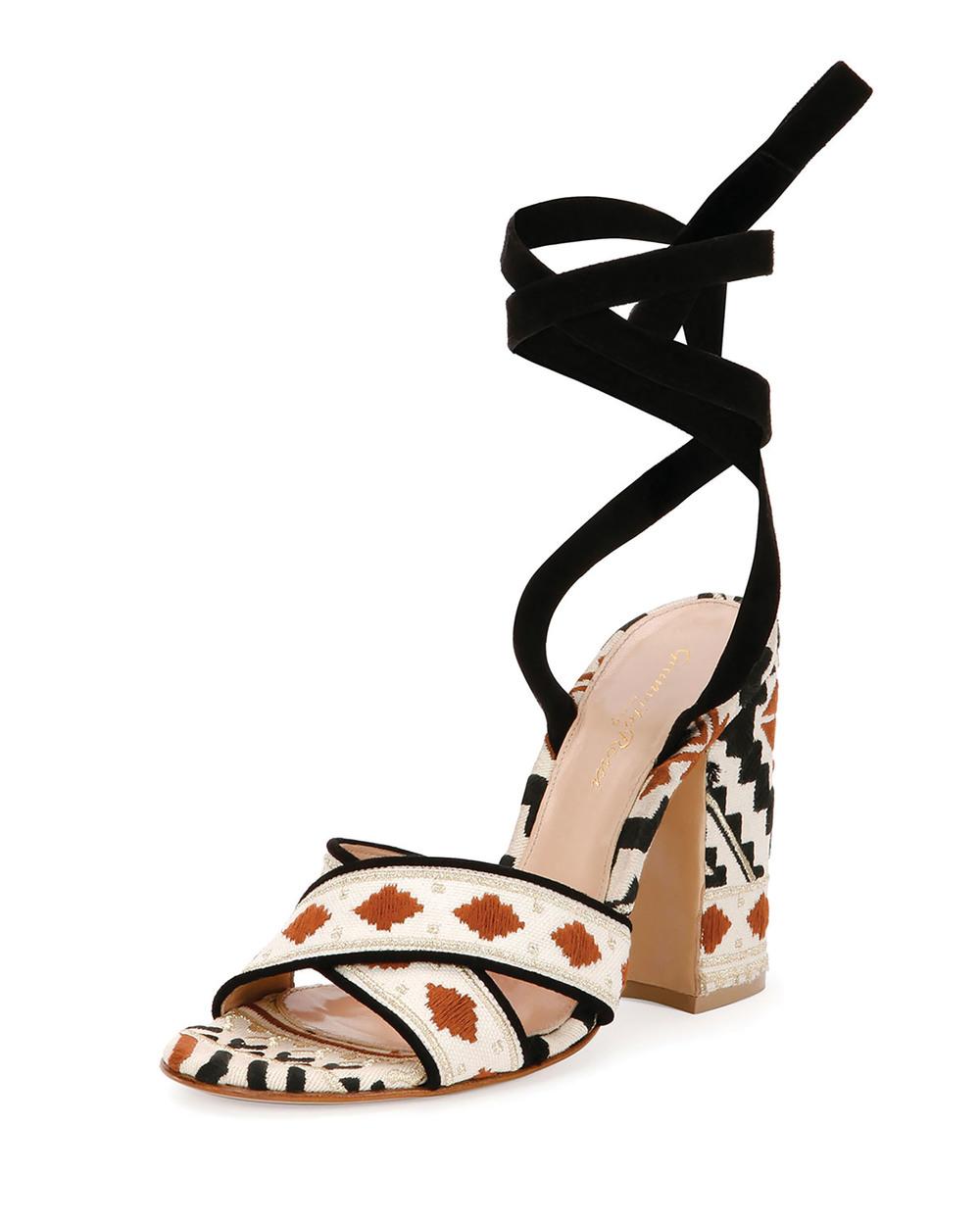 Gianvito Rossi Embroidered Open Toe Crisscross Sandal $1,656