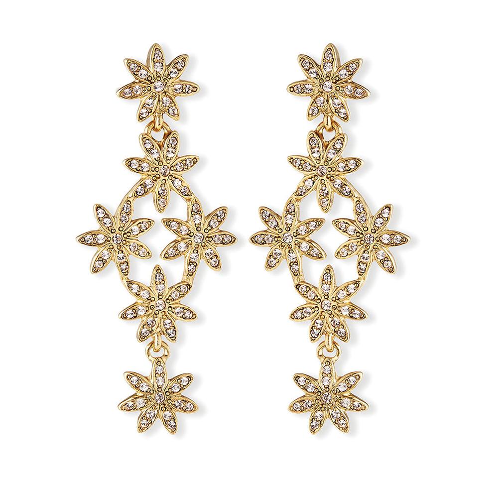 Oscar de la Renta Crystal Pave Flower Drop Earrings$590