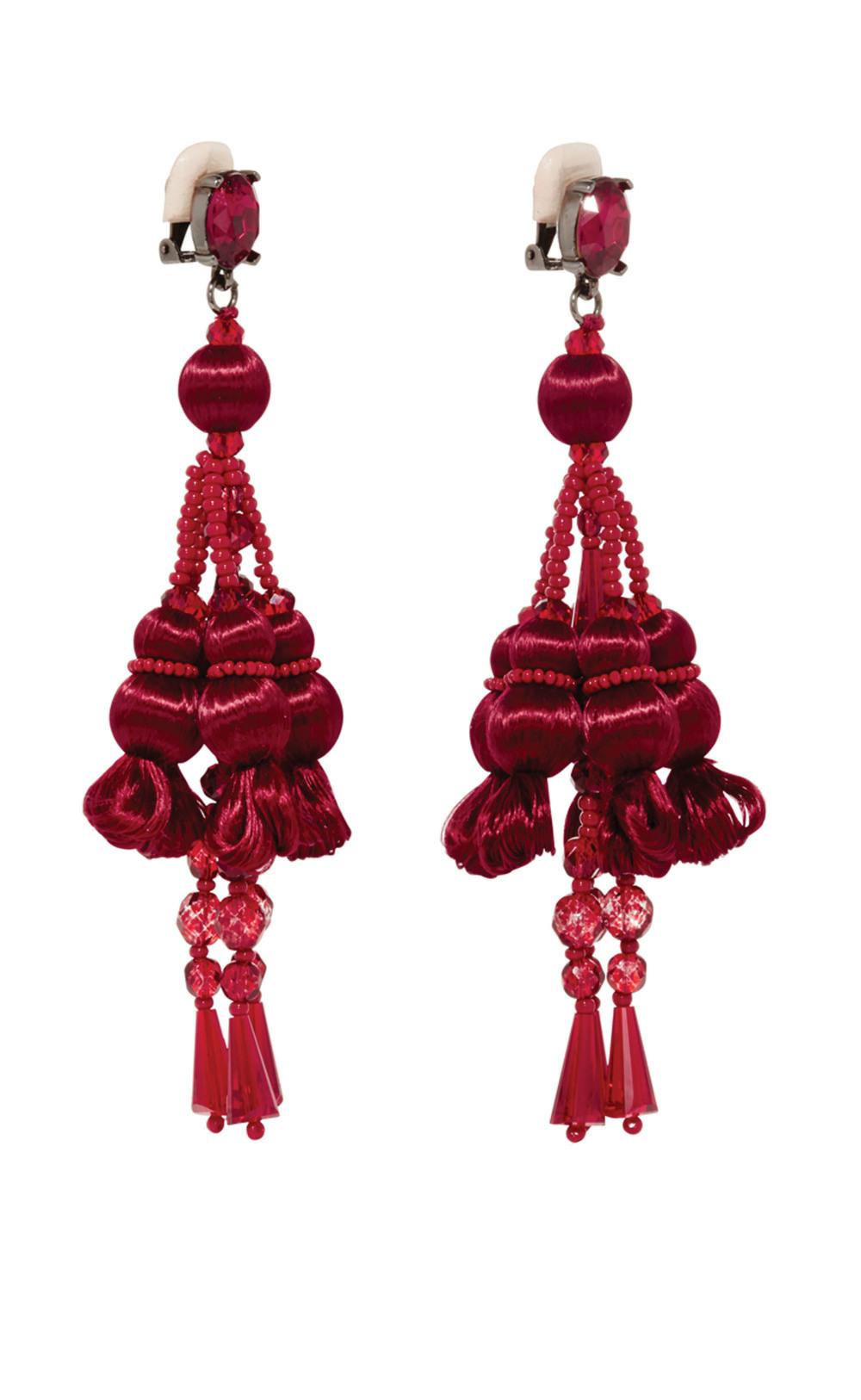 Oscar de la Renta Silk Pom Pom Clip On Earrings$690