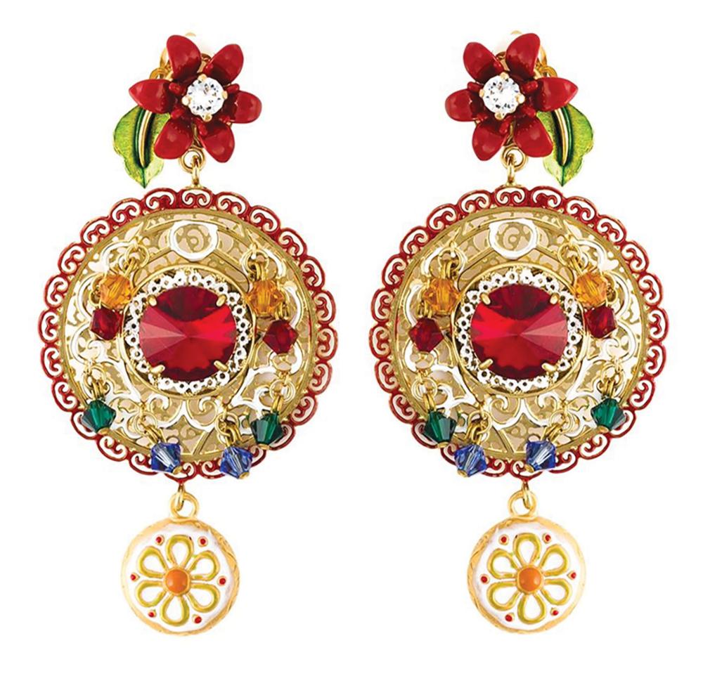 Dolce & Gabbana Daisy Drop Crystal Filigree Earrings $1,346