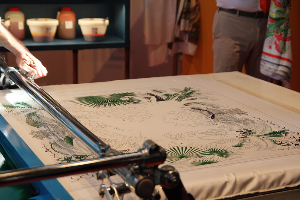 Screen-printing a Hermès silk scarf. (KaYan Wong/Taste of Life)