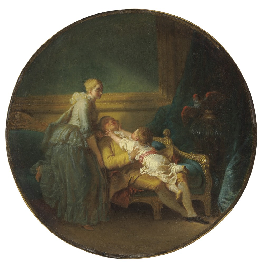 "L'Heureux ménage or ""The happy household"" by Jean-Honoré Fragonard (1732-1806) depicts what is thought to be the origins of today's nuclear family. This circular oil on canvas measures 13 ½ inches in diameter, and shows a young child from a wealthy French family at home with his mother and father. This was an unusual depiction for its time because wealthy families traditionally sent their children to be raised by a wet nurse and later a governess, remaining completely aloof from their children. Estimate: $1.5 million to $2.5 million.  (PHOTO CREDIT: CHRISTIE'S IMAGES LTD. 2016)"