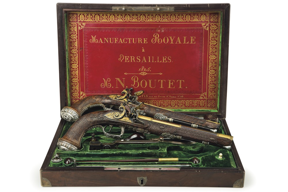 The Lafayette-Bolivar pistols. These cased, silver-mounted rifled flintlock pistols were crafted by French gun-smith Nicholas-Noël Boutet of Versailles in 1824, and were a gift from Marquis de Lafayette to Latin American revolutionary leader Simón Bolívar. The case bears the date 1825.  Estimate: $1.5 million to $2.5 million.  (PHOTO CREDIT: CHRISTIE'S IMAGES LTD. 2016)