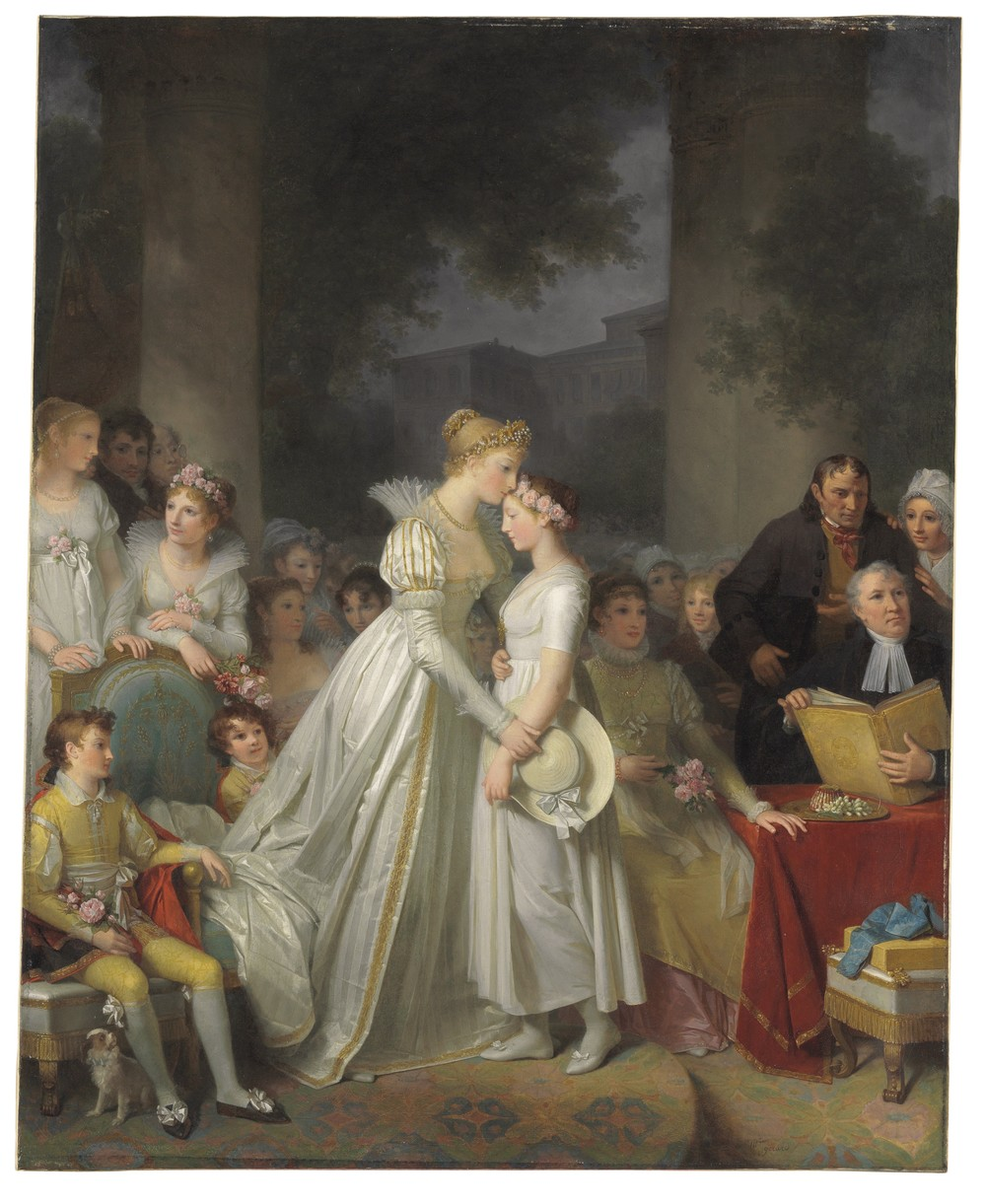 La Rosière or Le Baiser de Protection de la dame du lieu, (The kiss of protection by the local chatelaine) by Marguerite Gérard (1761-1837) depicts an important ceremony in a small French village where a pure young woman is chosen and celebrated for her virtue. Depicted on the left, holding the book, is Gérard's brother-in-law artist Jean-Honoré Fragonard, who also has a painting in Christie's Classic Week.  Estimate: $500,000 to $700,000.  (PHOTO CREDIT: CHRISTIE'S IMAGES LTD. 2016)