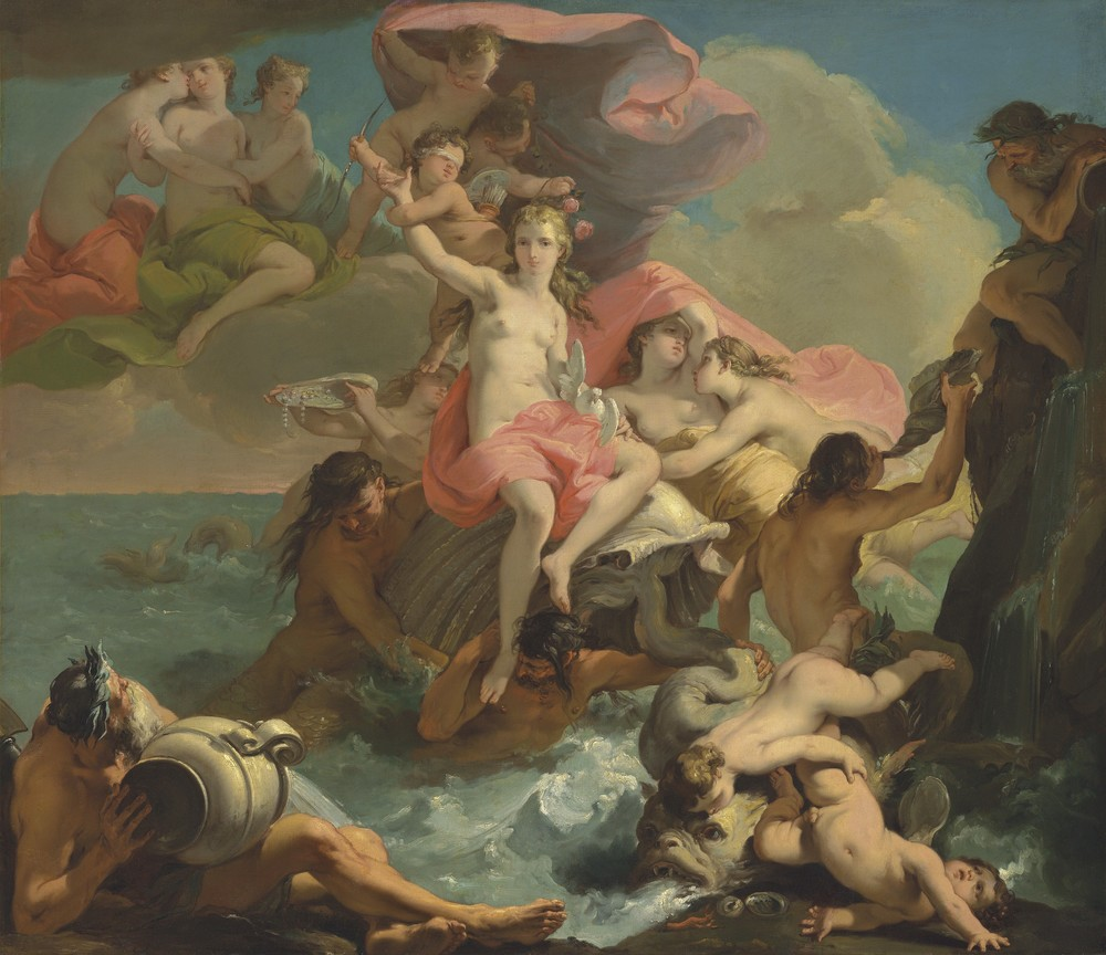 By Gaetano Gandolfi (1734-1802), The Birth of Venus is a major scale oil on canvas. It is a huge 58 inches x 66 7/8 inches.  This painting depicts the triumph of Venus, the goddess of fertility, as she emerges from her shell. This work was rediscovered in 2010 at a major auction and is expected to reach between $2.5 million and $3.5 million at auction at Christie's this week.  (PHOTO CREDIT: CHRISTIE'S IMAGES LTD. 2016)