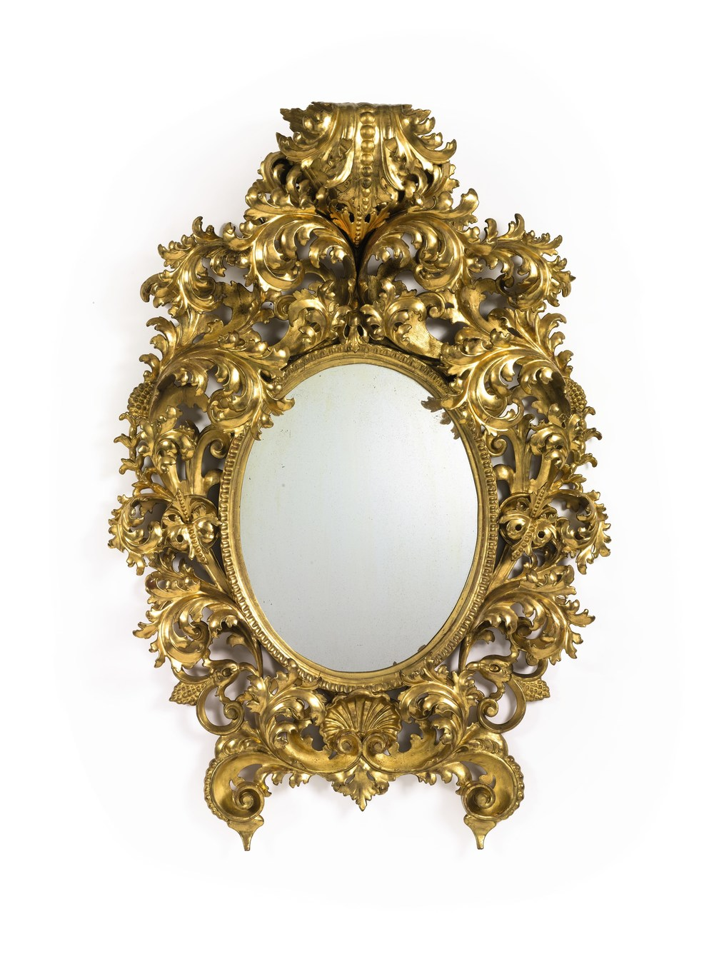 An Italian rococo style carved giltwood mirror from the 19th Century. Estimate: $15,000 to $25,000. (Photo credit: Courtesy of Sotheby's)