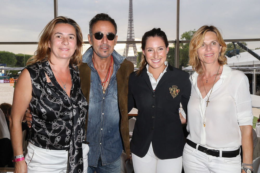 Couperie-Eiffel (far right) and her sister Coco (far left) pose with friends Bruce Springsteen and his daughter Jessica, who all share a passion for the equestrian arts.