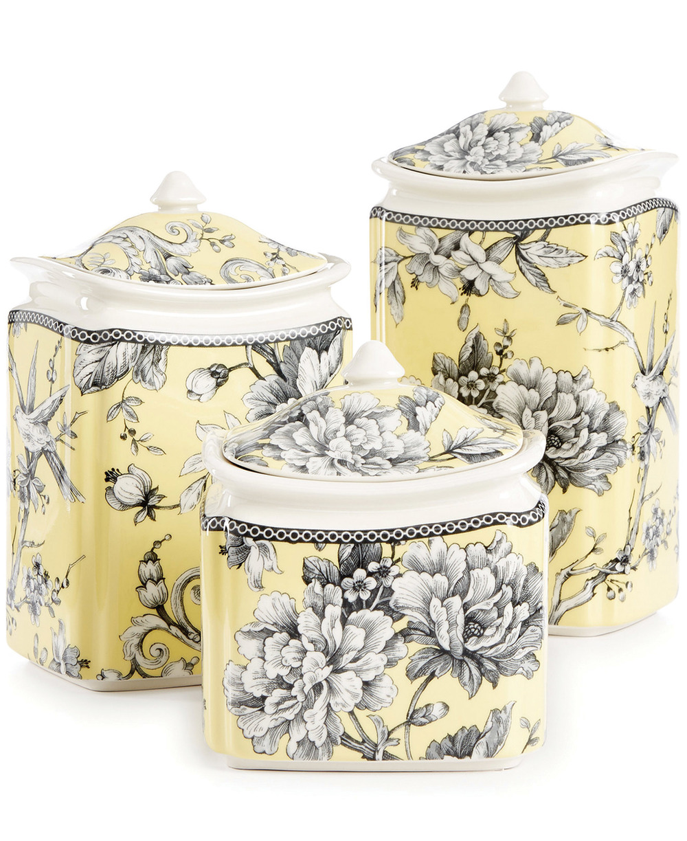 222 Fifth Fine China 6-Pc.  Adelaide Yellow Lidded Canister Set