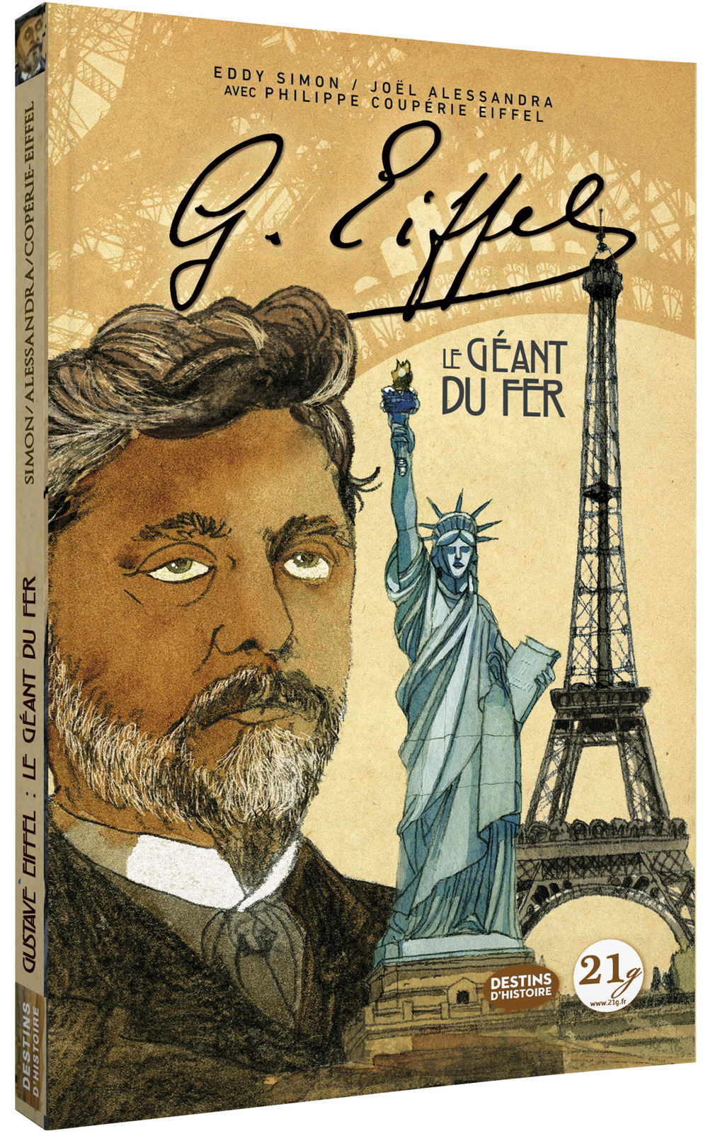 "Cover of graphic novel ""Gustave Eiffel: le Géant du Fer,"" written by Phillippe Couperie-Eiffel with Eddy Simon and Joël Alessandra."