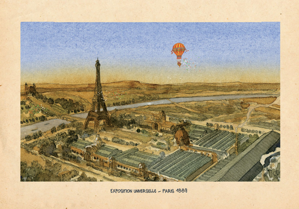 """Illustration from """"Gustave Eiffel: le Géant du Fer."""" Designed by engineer Gustave Eiffel, the Eiffel Tower was built in 1889 to recognize the 100th anniversary of the French Revolution. Illustrations by: Joël Alessandra for """"Gustave Eiffel: le Géant du Fer"""""""