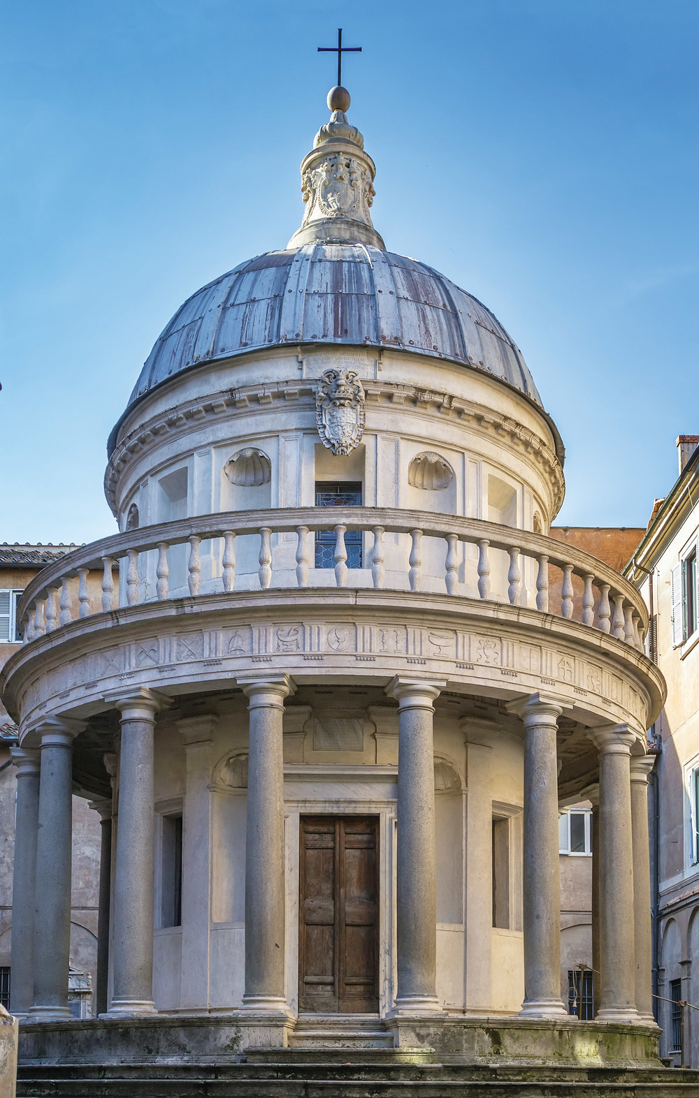 In the courtyard of San Pietro in Montorio in Rome, the Tempietto is an architectural jewel from the Renaissance that defines perfect proportion.(Borisb17 / Shutterstock.com)