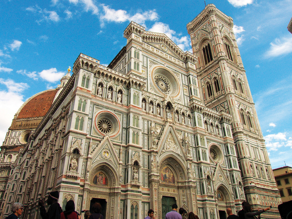 A collective work of many artists, the intricate facade of the Duomo di Firenze in Florence is dedicated to Mary, the mother of Christ. (Earl Dawson Photography / Shutterstock.com)