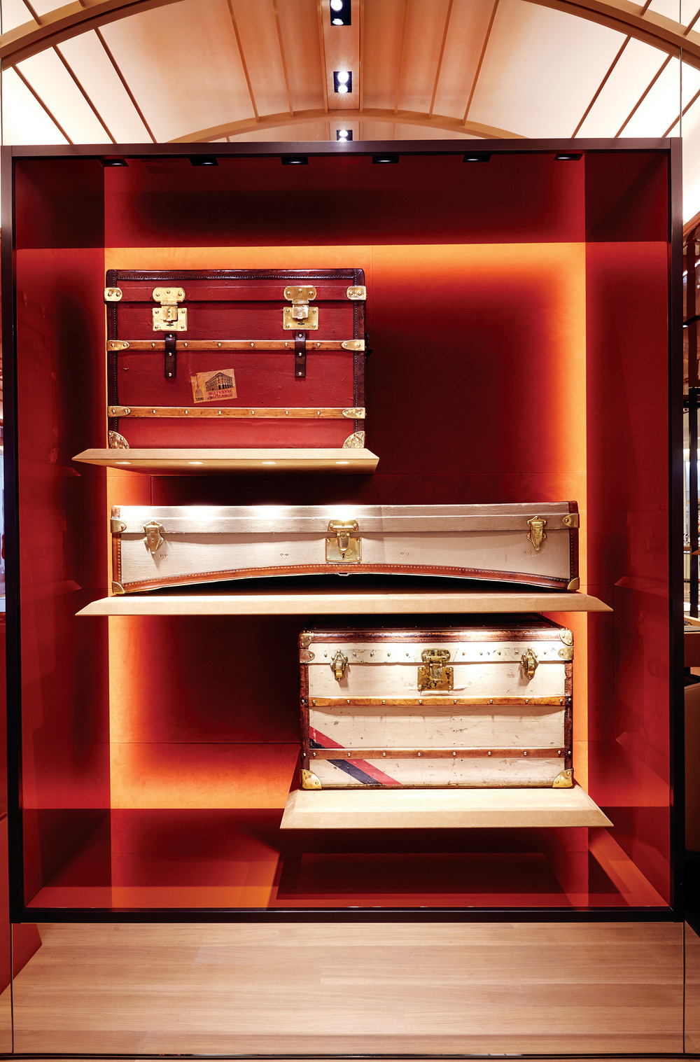 A voyage into luxury's past: vintage steamer trunks grace the Moynat boutique. Photos courtesy of Moynat