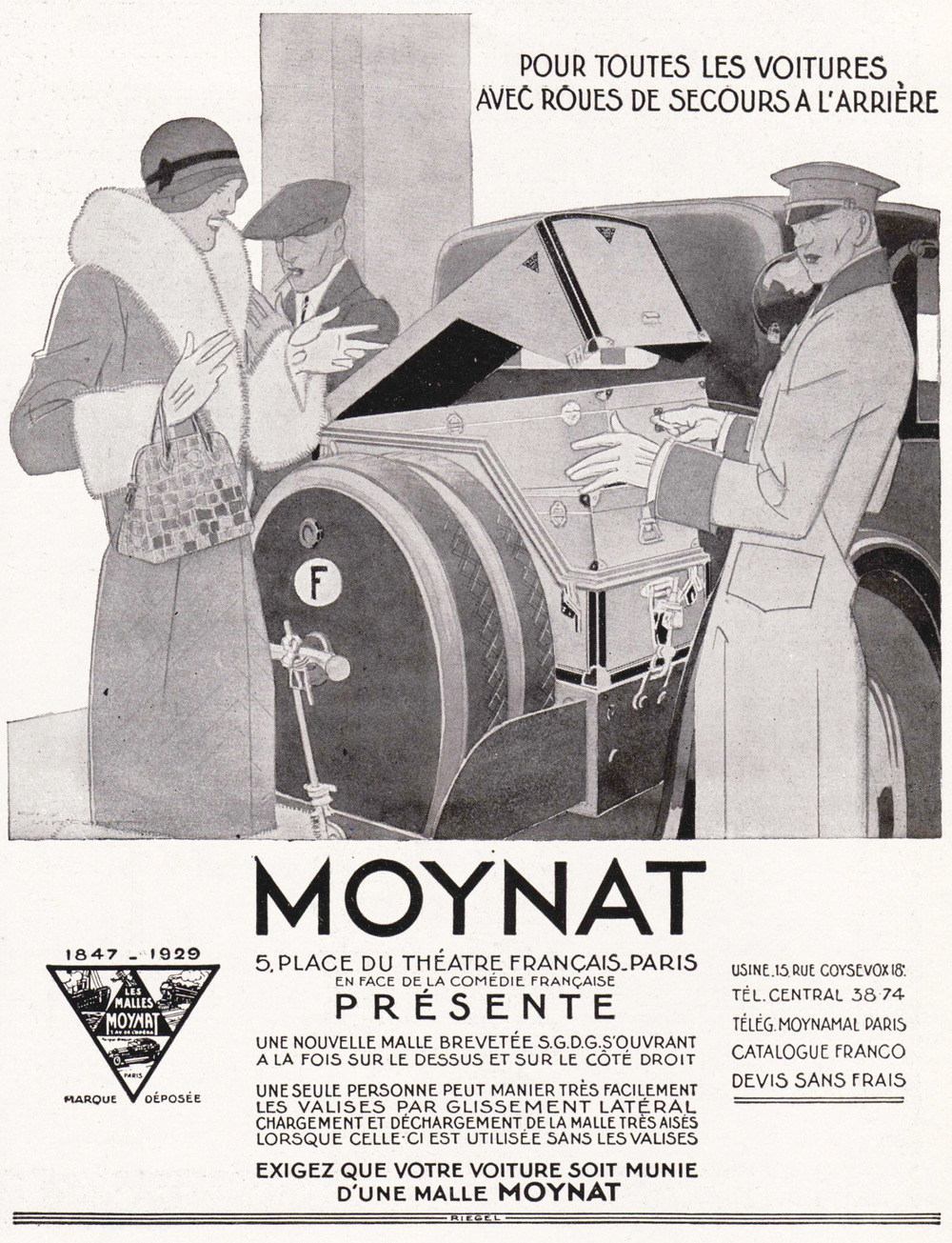 A 1929 advertisement demonstrates Moynat's innovative automobile-fitted trunks. Photos courtesy of Moynat