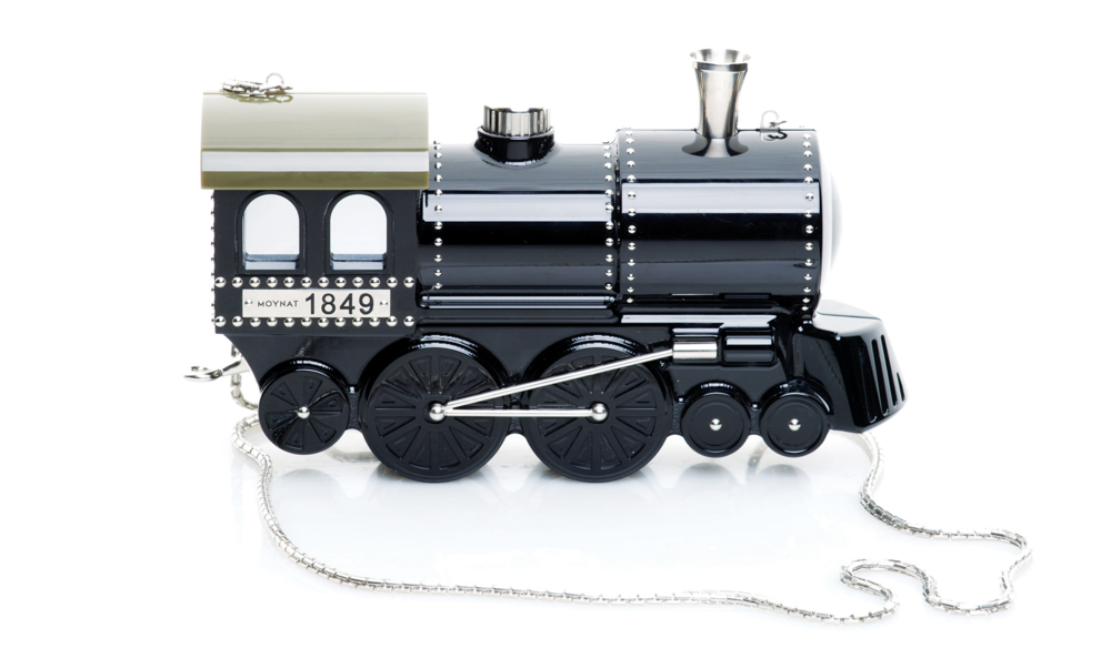 The brand wakes to a fresh start with a playful train-shaped clutch. Photos courtesy of Moynat