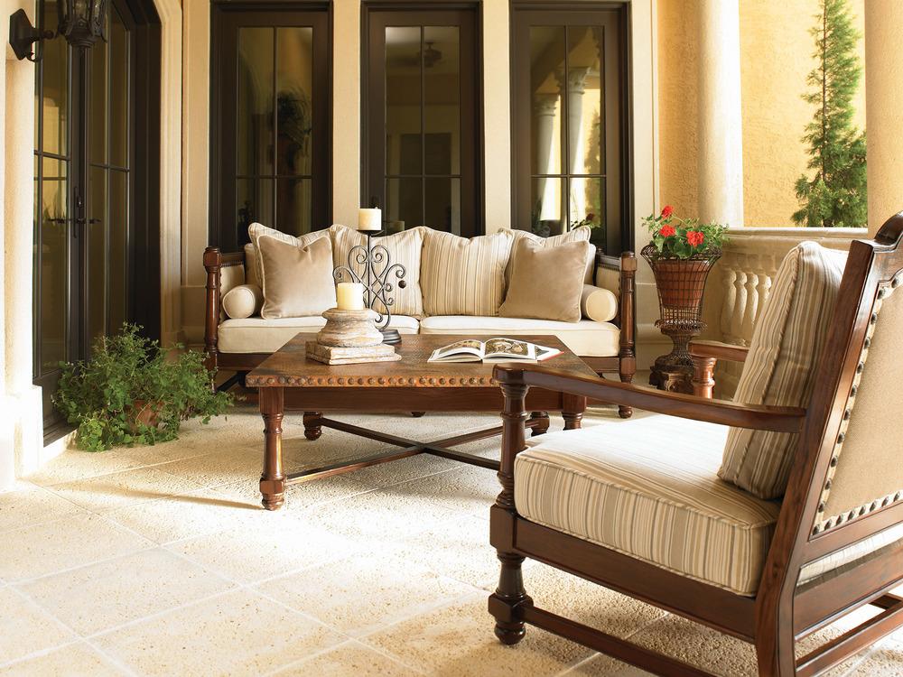 戶外硬木沙發、扶手椅、矮桌