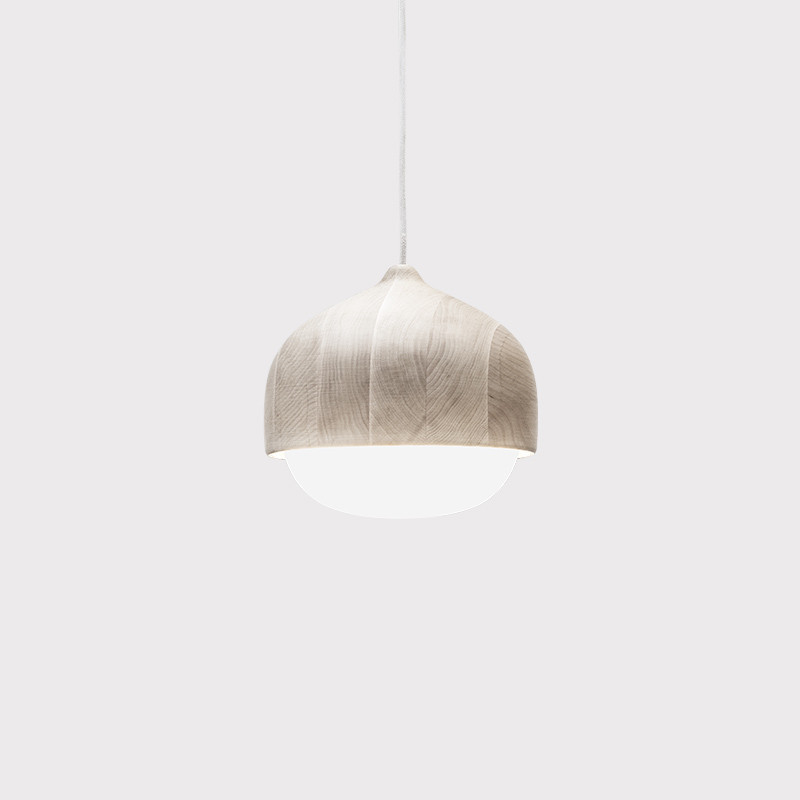 Inspired the shape of the humble acorn, the Mater Terho Pendants are crafted from responsibly grown European alder wood treated with natural wax and opal glass mouth-blown in the Czech Republic, price available on request, materdesign.com, (+45) 70 26 44 88