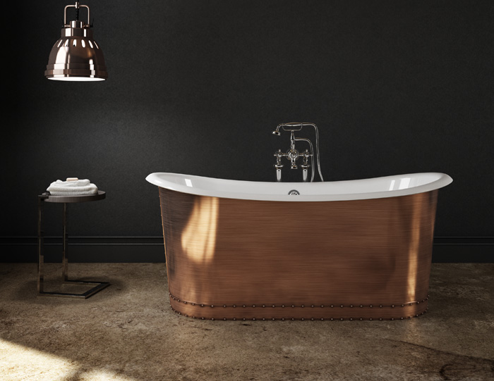 Slik  cast iron copper bathtub  with an exterior shell made of stainless steel and copper finish, price available on request, slikportfolio.com, (519) 884-5290