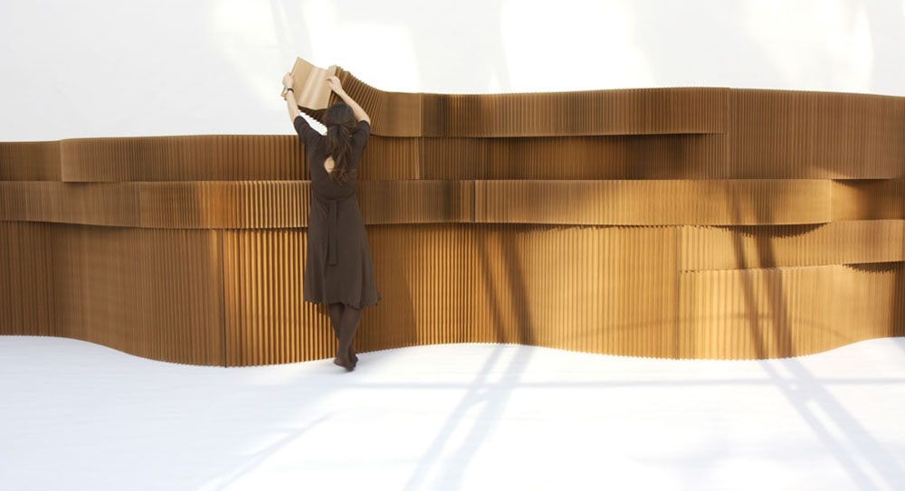 Molo Design natural brown softwalls are constructed entirely from paper, price available on request, molodesign.com, +1 (604) 696-2501