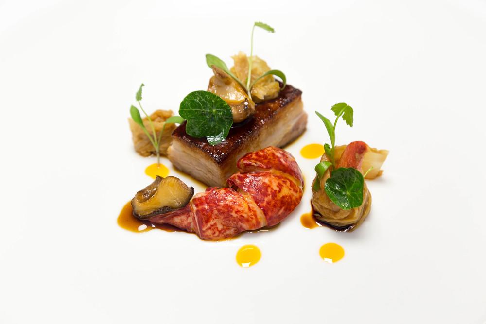 Suckling Pig Belly: Kimchi, Shitake, Kombu Broth, Poached Lobster