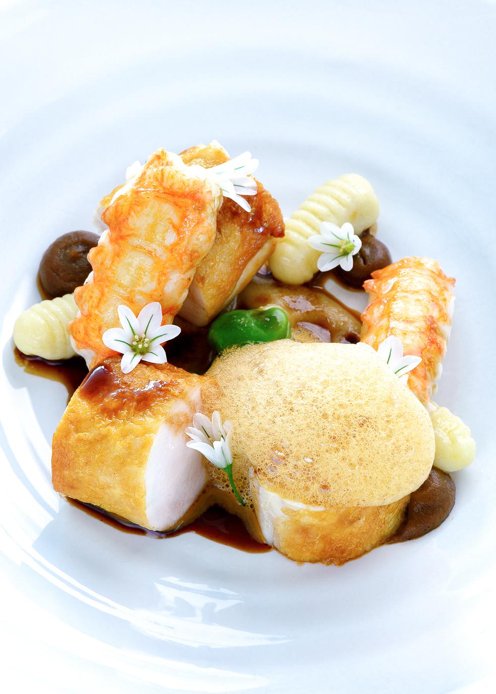 Organic Chicken: Asparagus, Peas, Langoustine, Jus, Shellfish Foam