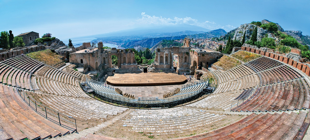 Top left: The Greco-Roman theatre of Taormina provides a stunning backdrop for fashion shows, concerts, plays, and film festivals. Boris Stroujko / Shutterstock.com