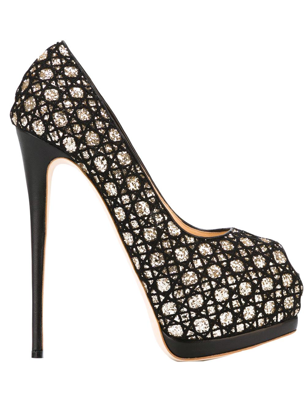 Giuseppe Zanotti Design Glitter Peep-Toe Pumps $1,108