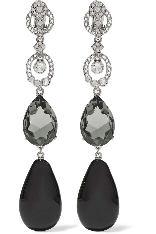 Oscar de la Renta Silver-Plated Crystal Clip Earrings US$590