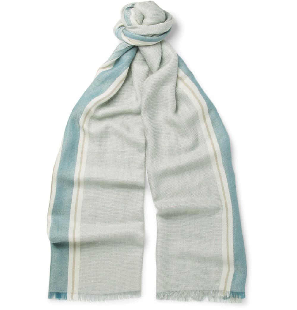 Loro Piana Striped Cashmere & Silk Blend Scarf $747