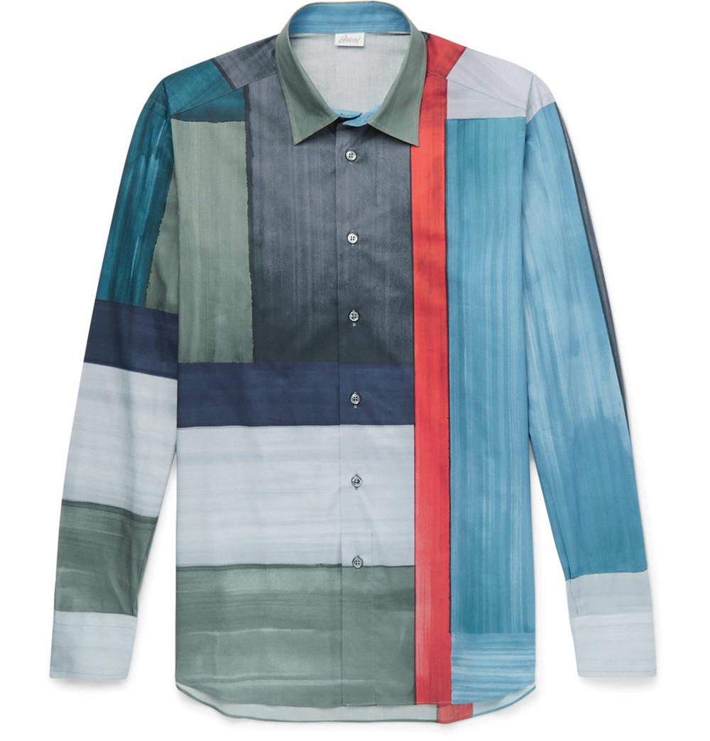 Brioni Colour Block Cotton Shirt $1,098